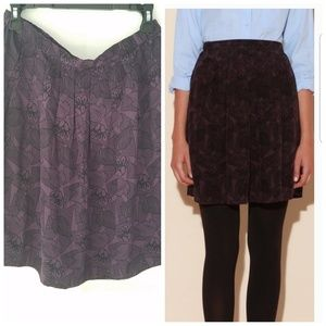 APC Purple and Black Floral Print Silk Skirt